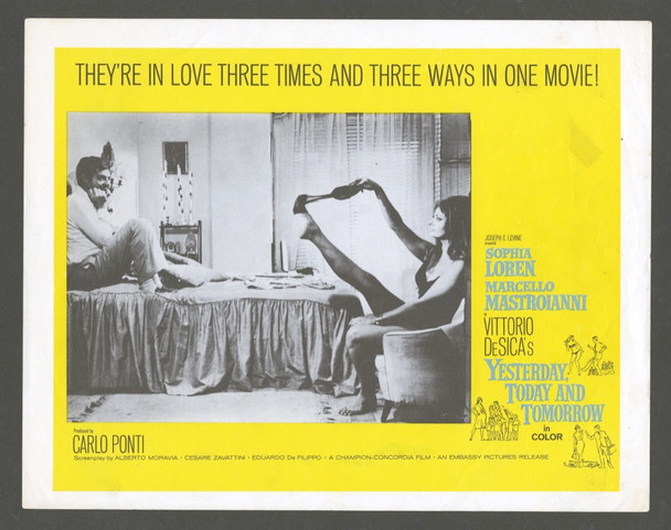 YESTERDAY, TODAY AND TOMORROW (1963) 4432 Original U.S. Scene Lobby Card (11x14) Very Good Plus Condition