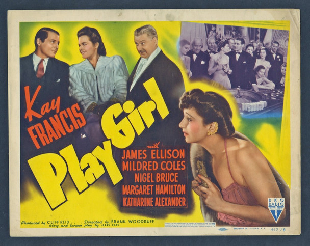 PLAY GIRL (1941) 8934   Kay Francis Movie Poster Original U.S. Title Lobby Card (11x14)  Very Good Plus Condition
