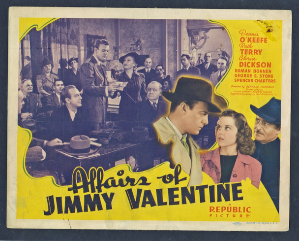 AFFAIRS OF JIMMY VALENTINE, THE (1942) 8894  Dennis O'Keefe  Movie Poster Original U.S. Title Lobby Card (27x41)  Fair to Good Condition