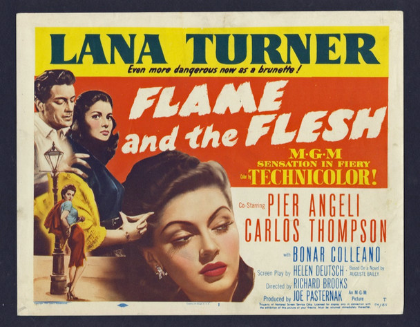 FLAME AND THE FLESH (1954) 8893   Lana Turner Movie Poster Original U.S. Title Lobby Card (11x14)  Very Fine Condition