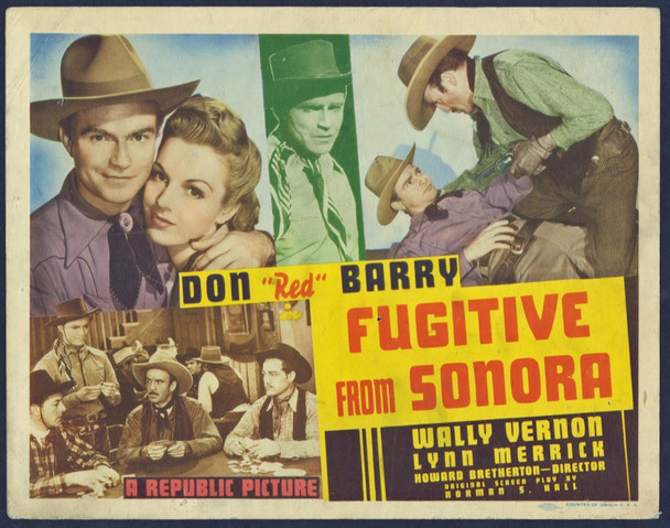 """FUGITIVE FROM SONORA (1943) 8895   Don """"Red"""" Barry Movie Poster Original Title Lobby Card (27x41) Good Theater-Used Condition"""