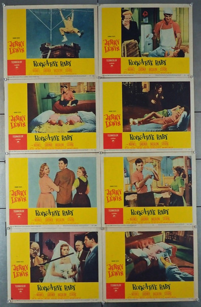 ROCK-A-BYE BABY (1958) 4455    Jerry Lewis  Full Lobby Card Set Original U.S. Lobby Card Set   Eight Individual Cards   Theater Used  Good Condition