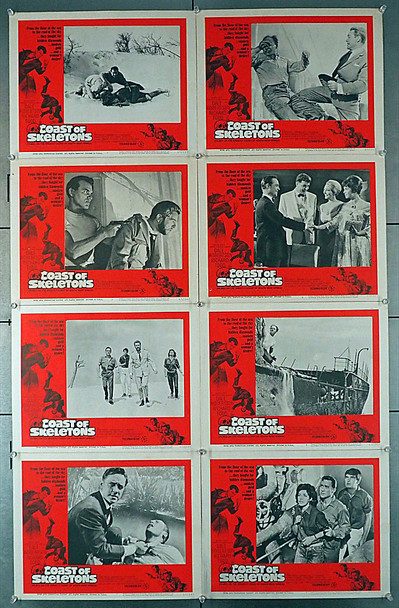 COAST OF SKELETONS (1965) 4374  U.S. Lobby Card Set  Eight Individual 11x14 Cards Original Lobby Card Set  Eight Cards in Very Good Plus to Fine Condition