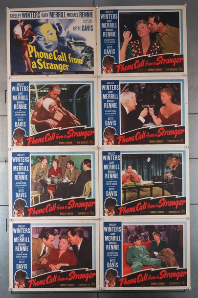 PHONE CALL FROM A STRANGER (1952) 4372   Shelley Winters   Bette Davis  Lobby Cards Original U.S. Lobby Card Set   Eight Individual Lobby Cards   11x14   Fine Plus Condition