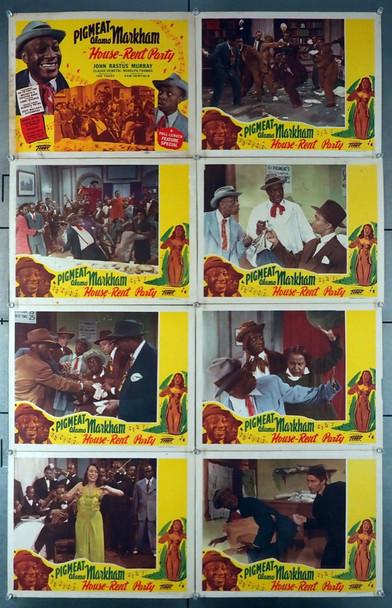 HOUSE-RENT PARTY (1946) 8278  Dewey Pigmeat Markham Lobby Card Set Original U.S. Lobby Card Set   Eight Individual Cards  Fine Plus Condition