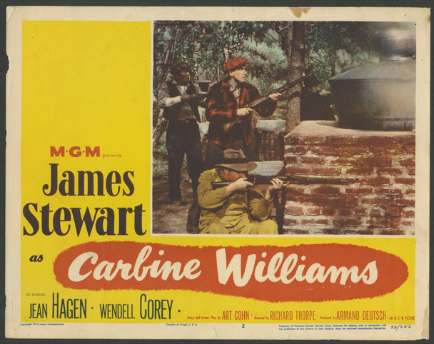 CARBINE WILLIAMS (1952) 4363   James Stewart Lobby Cards Original U.S. Scene Lobby Cards  Four Individual Cards  (11x14)  Fair to Good Condition