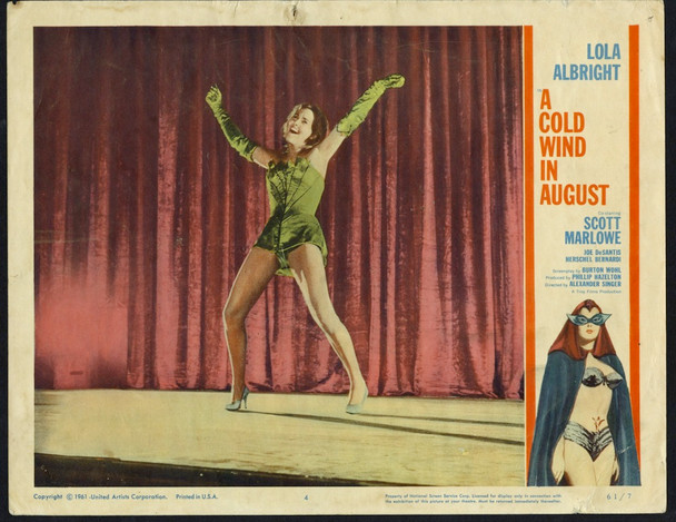 COLD WIND IN AUGUST, A (1961) 4436  Lola Albright Scene Lobby Card (11x14) Original U.S. Scene Lobby Card (11x14)  Theater Used  Good Condition