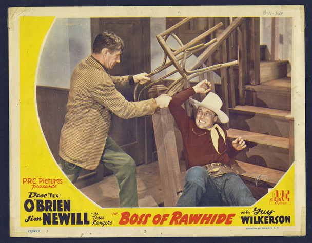 BOSS OF RAWHIDE (1943) 9337  Dave O'Brien  James Newhill Scene Lobby Card Original U.S. Scene Lobby Card  (11x14)  Very Good Theater-Used Condition