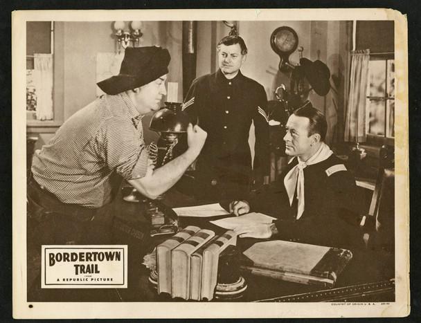 BORDERTOWN TRAIL (1944) 9341   Smiley Burnette Lobby Card Original U.S. Scene Lobby Card (11x14)  Good to Very Good Condition