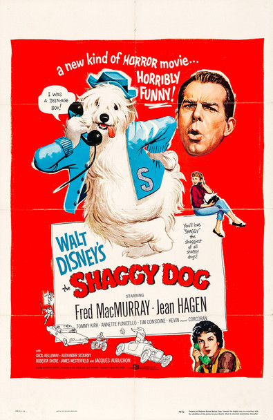 SHAGGY DOG, THE (1959) 28360   Old English Sheepdog Movie Poster  Fred McMurray Original U.S. One-Sheet Poster (27x41)  Folded  Very Good Plus Condition