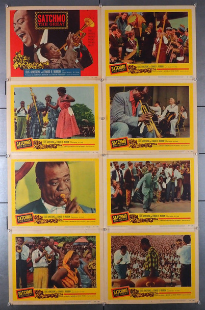 SATCHMO THE GREAT (1957) 2650  Louis Armstrong Lobby Cards  Eight Individual Cards Original U.S. Lobby Card Set  Eight 11x14 Lobby Cards  Very Fine Condition