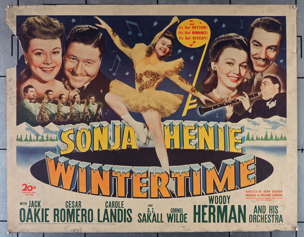 WINTERTIME (1943) 23264   Sonja Henie Ice Skating Movie Poster   Olympic Champion Skater Original U.S. Half Sheet Poster (22x28)  Never Folded  Theater Used Condition