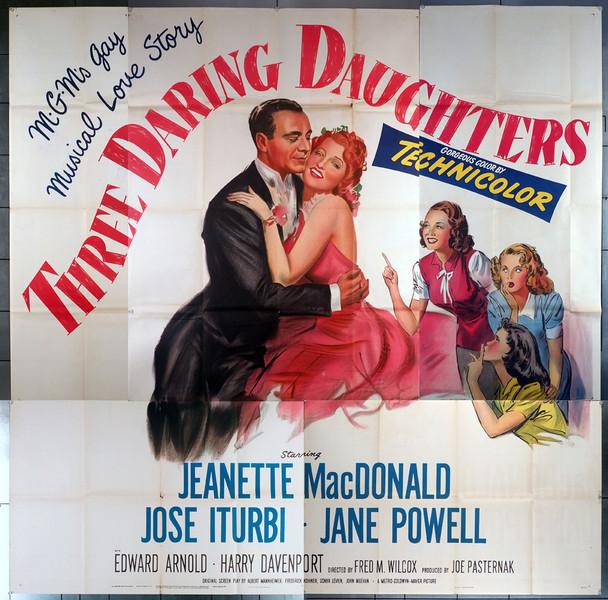 THREE DARING DAUGHTERS (1948) 9854  Jeannette MacDonald  Jane Powell  Movie Poster Original U.S. Six Sheet Poster (81x81)  Very Fine Condition