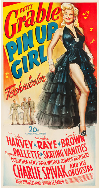 PIN UP GIRL (1944) 23072   Betty Grable Movie Poster  Linen-Backed Original U.S. Three-Sheet Poster (41x81)  Linen-Backed  Very Fine Condition