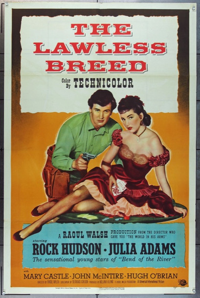 LAWLESS BREED, THE (1953) 20790   Rock Hudson  Julia Adams  Movie Poster Original U.S. One-Sheet Poster (27x41) Folded  Fine Plus Condition