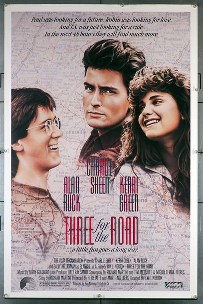 THREE FOR THE ROAD (1987) 309   Charlie Sheen  Kerri Green  Movie Poster Original U.S. One-Sheet Poster (27x41)  Rolled  Very Fine Condition