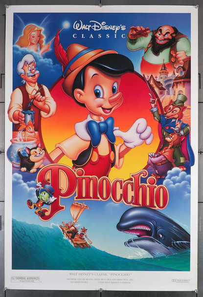 PINOCCHIO (1940) 6043   Walt Disney Original 1992 Re-release Poster  Original U.S. One-Sheet Poster (27x40)  Double Sided  Rolled  Very fine  1992 Re-release Poster
