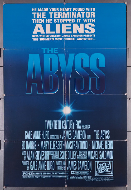 ABYSS, THE (1989) 10471   James Cameron Movie Poster Original U.S. One-Sheet Poster (27x41) Folded  Very Good Plus to Fine condition