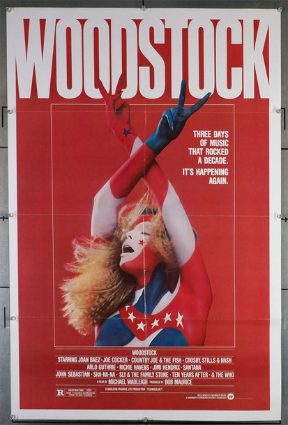 WOODSTOCK (1970) 29339   Movie Poster from the re-release of 1979 Original U.S. One-Sheet Poster (27x41)  Folded   Re-release of 1979
