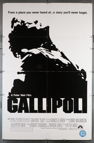 GALLIPOLI (1981) 29188  Peter Weir Movie Poster  Mel Gibson Original U.S. One-Sheet Poster. 27x41.  Folded  Very Good Plus Condition