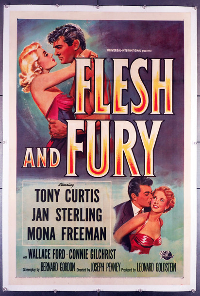FLESH AND FURY (1952) 20781  Tony Curtis  Jan Sterling  Movie Poster  Linen-Backe Original U.S. One-Sheet Poster (27x41)  Linen-Backed  Fine Plus Condition