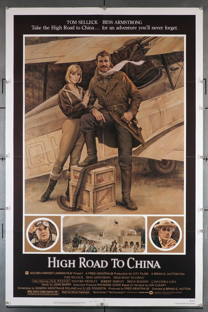 HIGH ROAD TO CHINA (1983) 29211  Tom Selleck Movie Poster  Art by Morgan Kane Original US One Sheet Poster. 27x41.  Folded  Fine Condition