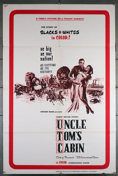 UNCLE TOM'S CABIN (1977)  4106   Harriet Beecher Stowe Movie Poster Independent Interntional Pictures /  Kroger Babb Original U.S. One-Sheet Poster (28x42)