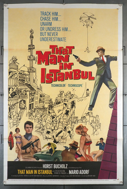 THAT MAN IN ISTANBUL (1966) 4069   Horst Bucholz Movie Poster Original U.S. One-Sheet Poster (27x41) Folded  Fine Plus