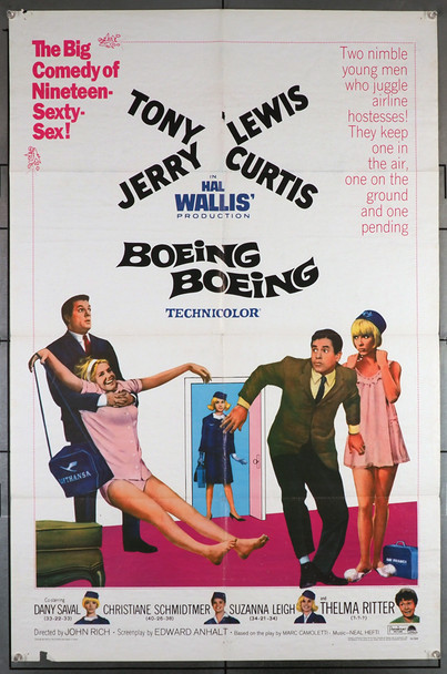 BOEING BOEING (1965) 4089   Tony Curtis   Jerry Lewis  Movie Poster Original U.S. One-Sheet Poster (27x41)  Folded  Average Used Condition