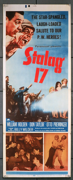 STALAG 17 (1953) 8343   William Holden  Billy Wilder  Movie Poster Original U.S. Insert Poster (14x36)  Folded  Fine Plus Condition