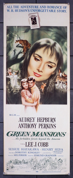 GREEN MANSIONS (1959) 7204   Audrey Hepburn Movie Poster Original U.S. Insert Poster (14x36)  Folded  Fine Plus Condition