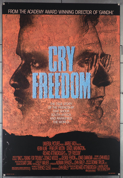CRY FREEDOM (1987) 477  Denzel Washington Movie Poster  Rolled  Never Folded Original U.S. One-Sheet Poster (27x41) Rolled  Very Good Condition