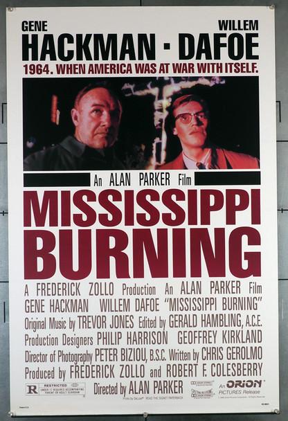 MISSISSIPPI BURNING (1988) 507  Gene Hackman   Willem Dafoe  Movie Poster Original U.S. One-Sheet Poster (27x41) Rolled  Never Folded  Fine Plus