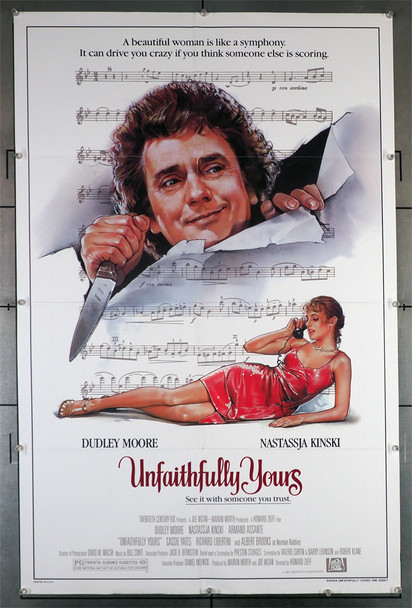 UNFAITHFULLY YOURS (1984) 29333   Dudley Moore   Nastassja Kinski  Movie Poster Original U.S. One-Sheet Poster (27x41). This poster is folded and is in fine condition.