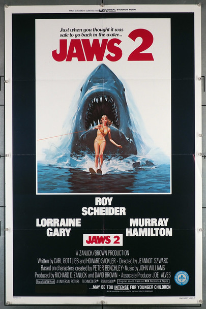 JAWS 2 (1978) 29237   Lorraine Gary Movie Poster with art by Lou Feck   An original Universal 1978 Release One Sheet Poster (27x41) Directed by Jeannot Szwarc and starring Roy Scheider and Lorraine Gary. Art by Lou Feck