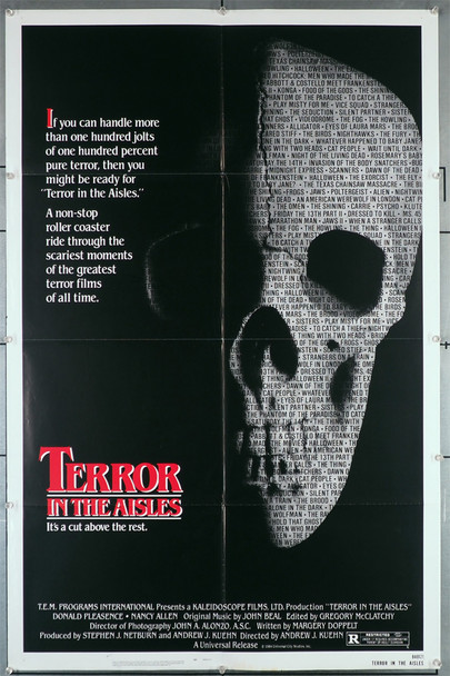 TERROR IN THE AISLES (1984) 29321  Documentary Film Poster  Andrew J. Kuehn Original U.S. One-Sheet Poster (27x41)  Folded  Fine Plus Condition