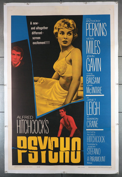 PSYCHO (1960) 23652   Original Alfred Hitchcock Movie Poster   Original U.S. One-Sheet Poster (27x41) Linen-Backed  Very Fine Condition