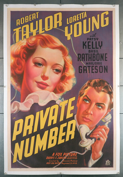 PRIVATE NUMBER (1936) 21378   Loretta Young   Robert Taylor  Movie Poster Original 20th Century-Fox One Sheet Poster (27x41). Stone Lithograph. Linen Backed  Very Fine Plus