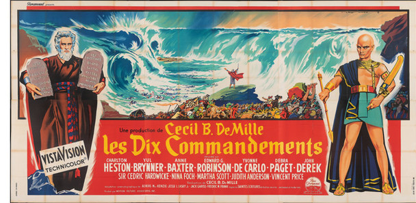 TEN COMMANDMENTS, THE (1956) 6271  Charlton Heston  Yul Brynner  Movie Poster from France Original Paramount Pictures French Six-Panel Poster   94x189 inches  Fine Plus Condition