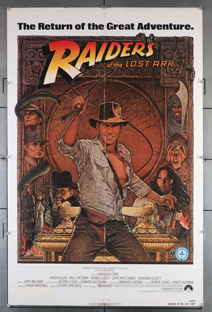 RAIDERS OF THE LOST ARK (1981) 29285  Harrison Ford  Classic Film Poster with art by Richard Amsel Original U.S. One-Sheet Poster (27x41) Folded  1982 Poster  Fine Plus Condition