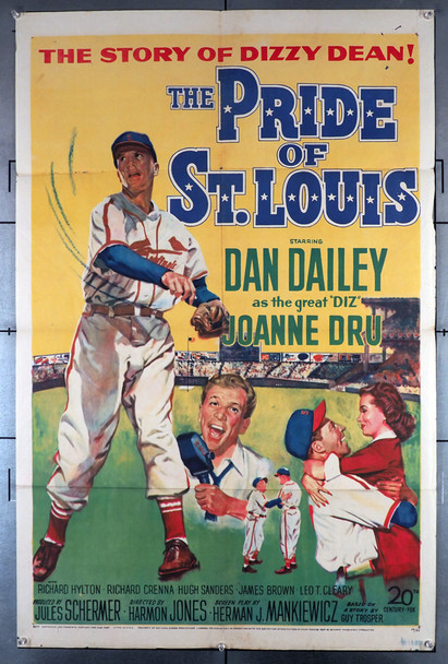 PRIDE OF ST. LOUIS, THE (1952) 2761  Dan Dailey Movie Poster   Dizzy Dean Movie Poster Original Twentieth Century Fox One Sheet (27 x 41). Very Good Plus Condition