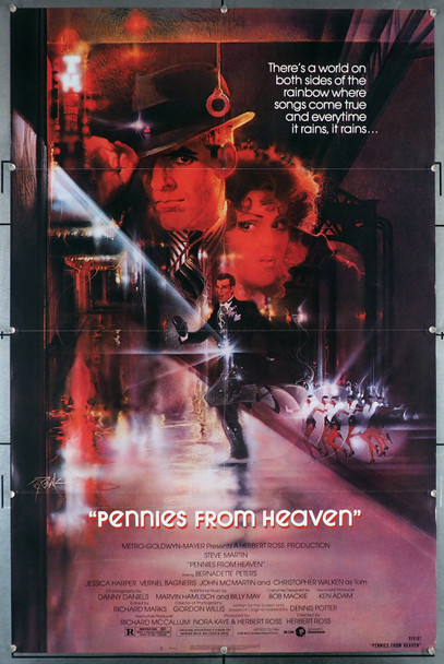 PENNIES FROM HEAVEN (1981) 29273  Steve Martin  Bernadette Peters Movie Poster  Art by Bob Peak MGM Original U.S. One-Sheet Poster (27x41) Folded  Very Good Plus to Fine Condition