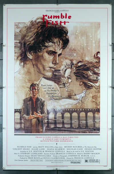 RUMBLE FISH (1983) 29295  Movie Poster   Art of Matt Dillon by John Solie Original U.S. One-Sheet Poster (27x41). This poster is folded and in fine plus condition.