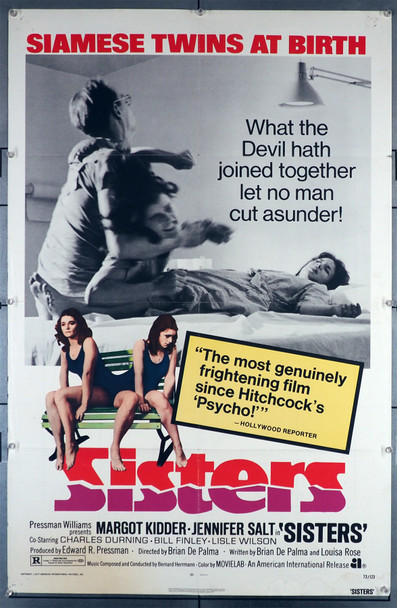 SISTERS (1973) 29303   Margot Kidder   Jennifer Salt   Brian DePalma  Movie Poster Original American International Pictures One Sheet Poster (27x41).  Folded.  Very Fine.
