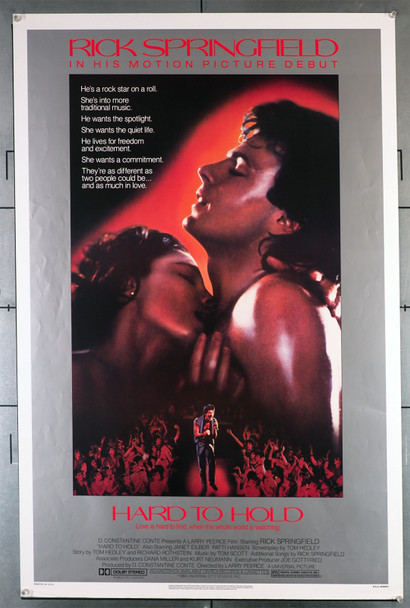 HARD TO HOLD (1984) 427   Rick Springfield   Janet Eiber  Movie Poster  Rolled  Very Fine Universal PIctures Original U.S. One-Sheet Poster (27x41)  Rolled Never Folded