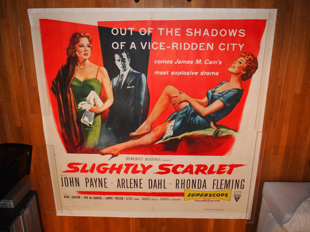 SLIGHTLY SCARLET (1956) 13864  Rhonda Fleming   Arlene Dahl  John Payne  Movie Poster  Six Sheet Poster Original U.S. Six Sheet Poster   Linen-Backed   Fine Plus to Very Fine Condition