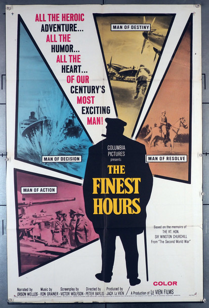 FINEST HOURS, THE (1964) 2359  Winston Churchill Documentary Postser  Orson Welles, Narrator Original U.S. One-Sheet Poster (27x41) Folded  Fine Condition