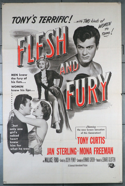 FLESH AND FURY (1952) 2355   Tony Curtis  Mona Freeman  Jan Sterling  Movie Poster Original U.S. One-Sheet Poster (27x41) Folded  Very Fine Condition