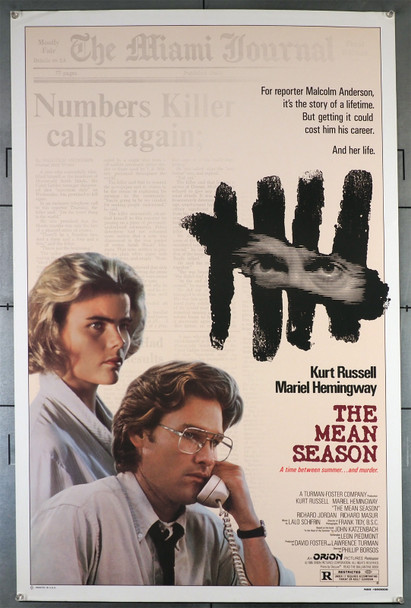 MEAN SEASON, THE (1985) 414   Mariel Hemingway   Kurt Russell  Movie Poster Original U.S. One-Sheet Poster (27x41) Rolled Never Folded  Very Fine Condition