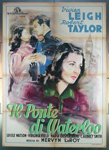 WATERLOO BRIDGE (1940) 26794  Vivien Leigh Italian Movie Poster Original Italian 39x55 Poster   Folded  Very Good Condition